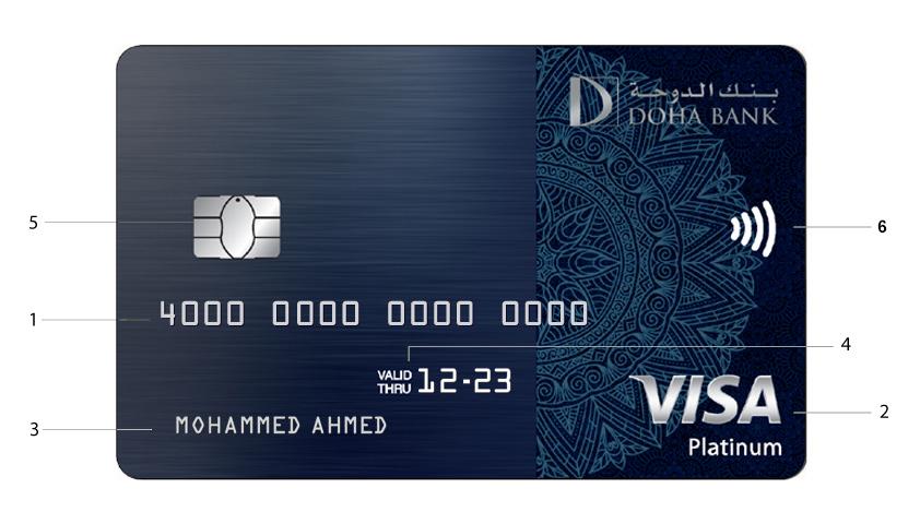 Doha Bank Visa Platinum Credit Card - Front